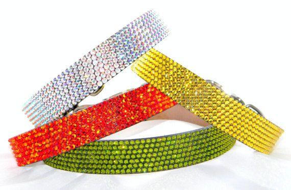 Custom Bling 14-16 medium Leather Crystal Pet Collars by