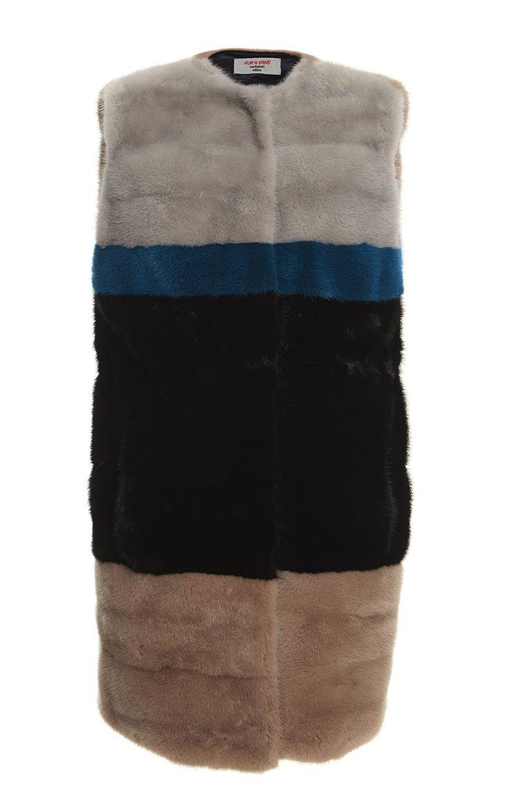 Color Blocked Mink Vest by Castiglione Milano for Preorder on Moda Operandi