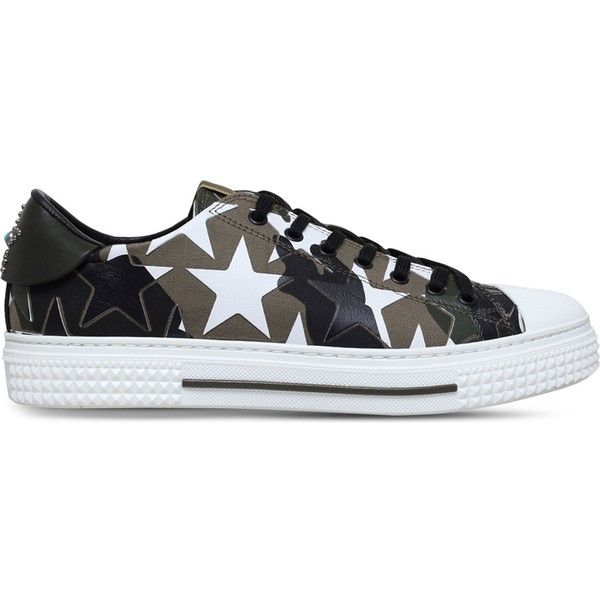 Valentino Camo Star canvas trainers ($860) ❤ liked on Polyvore featuring men's fashion, men's shoes, men's sneakers, mens camo sneakers, valentino mens sneakers, mens camo shoes, g star mens shoes and mens canvas sneakers