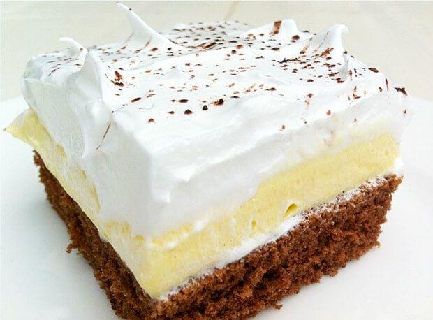 Teď jsme se pustili do koláče, který taky patří mezi ty jednoduché. První vrstva je kakaová část, potom jsme si připravili máslovou vrstvu a na konec vyšlehané bílky s cukrem. Vše jsme posypali čokoládou. Kombinace byla opravdu perfektní, myslím, že se nám povedl, Zkuste a uvidíte sami. Co budeme potřebovat: Kakaové těsto: 5 vajec 250 …