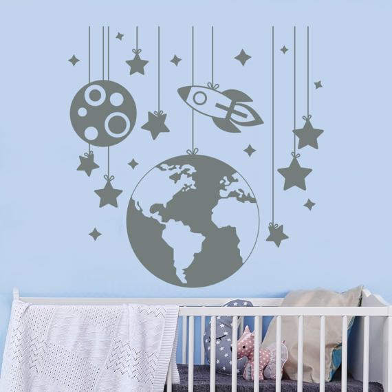 Planet Wand Aufkleber Rakete Schiff Platz Abziehbild Kindergarten Baby Boy Zimmer Spielzimmer Dekor Fenster Kunst Home Vinyl Aufkleber abnehmbare Wandbild J408
