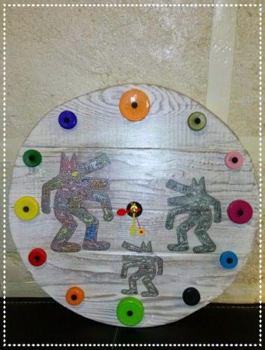 Orologio-da-parete-KEITH-HARING-legno-pallet-vintage-industrial-reclaimed-shabby