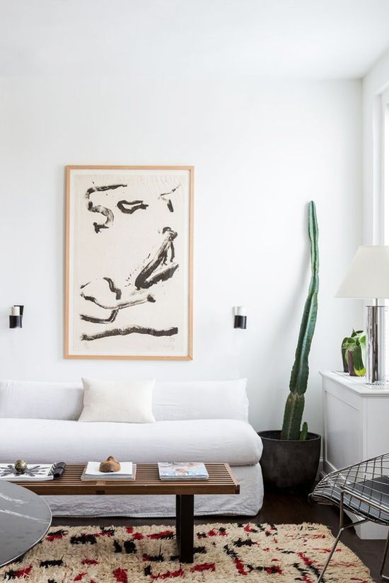 Minimal White Living Room With Cactus In New York City Apartment Tour On  Thou Swell Kevin OGara