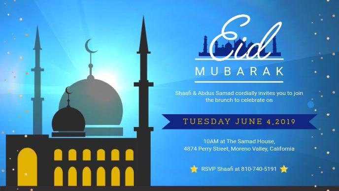 Blue Eid Brunch Invitation At Residence Banne Eid Card Template Brunch Invitations Poster Template