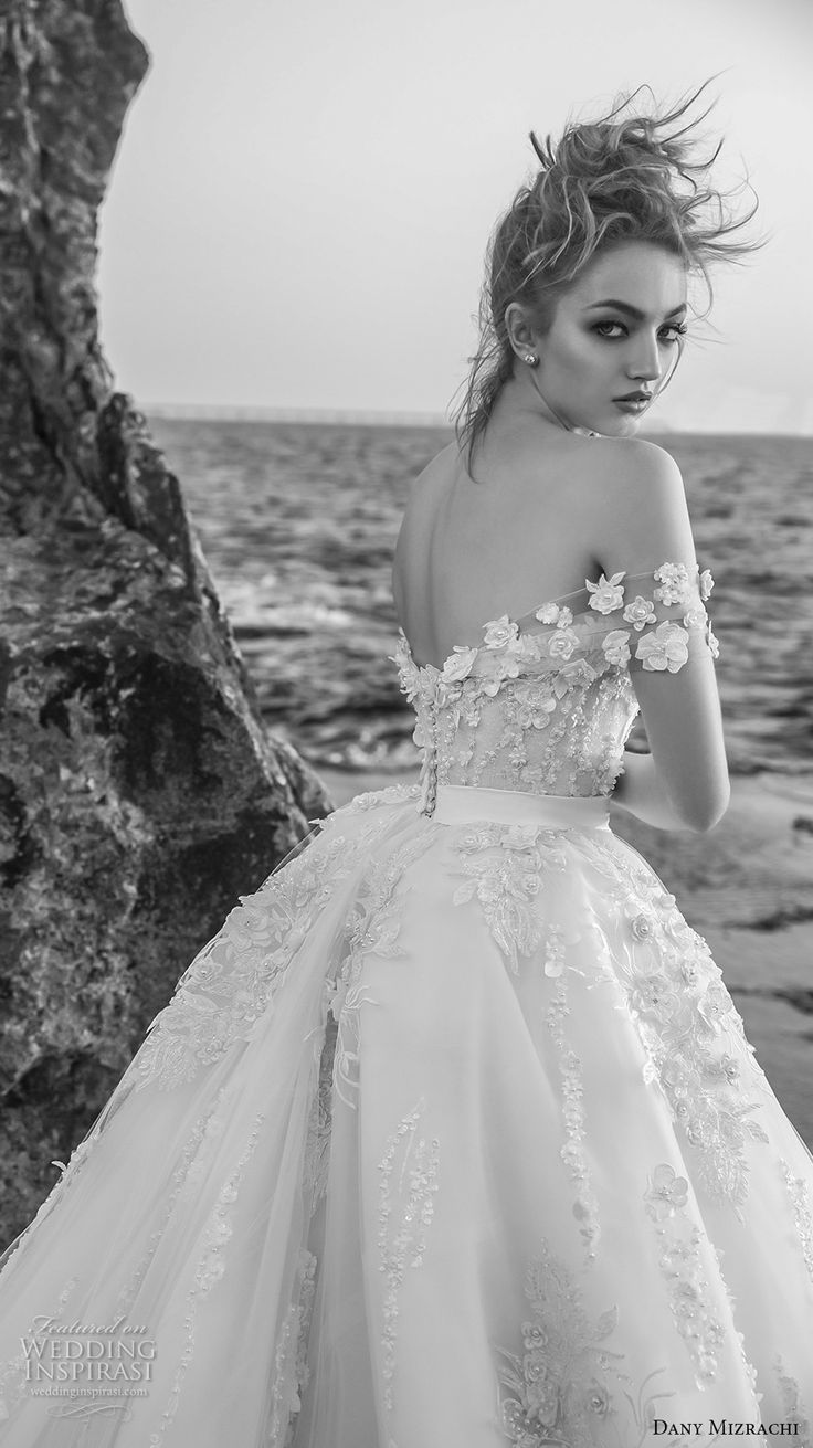 dany mizrachi 2018 bridal off the shoulder sweetheart neckline heavily embellish…