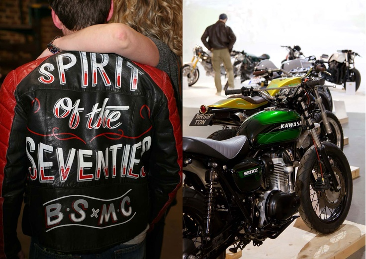 Two pictures, one a guy wearing a 'spirit of the seventies leather jacket', and the other of a Kawasaki flat tracker custom