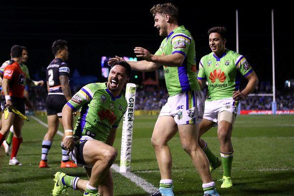 Jordan Rapana of the Raiders celebrates scoring a try during the round 22 NRL match between the Cronulla Sharks and the Canberra Raiders at Southern Cross Group Stadium on August 5, 2017 in Sydney, Australia.
