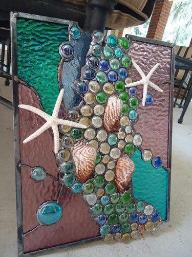 Stained Glass Window Tropical Starfish Sea Shell Beach Suncatcher Sail Panel | eBay