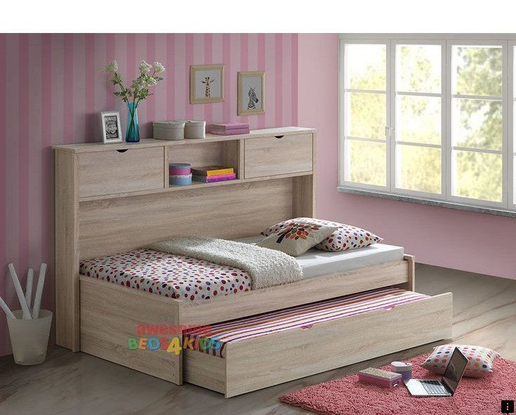 Cuba Grey Fabric Single Bed Frame With Pull Out Guest Bed Trundle