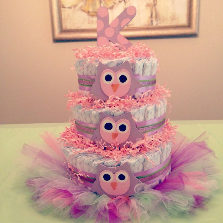 Owl Diaper Cake With Baby First Tutu As The Base