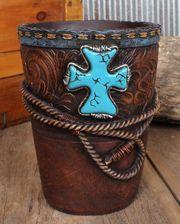 Turquoise Cross Waste Basket - www.fortwestern.com