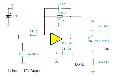 "This ""DAC Interface"" circuit is a precision buffer amplifier for a DAC output. It is scaled to provide a 10V output @ 10mA with a +1V input voltage. This type of current source can be very useful in industrial interface applications. Click the link below to learn more: https://www.tinacloud.com/tinademo/tina.php?c=54eb379638feb:15978 For more information on TINA and TINACloud see: www.tina.com & www.tinacloud.com"
