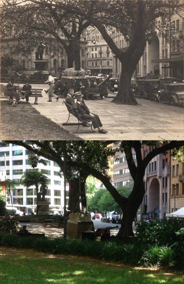 Macquarie Place Park, Sydney, looking towards Bridge St circa 1935 & 2015. [circa 1935 - RAHS>2015 - Phil Harvey. By Phil Harvey]