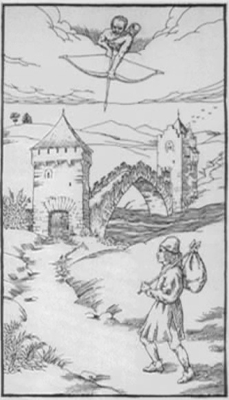 """Ⅲ. Third Gate """"Wasted breath keeps a secret""""    A vagrant, or a pilgrim, heads towards a bridge  which spans a river. At each end, a fortified  door bars access. On a cloud, a bowman aims in  the direction of the road leading to the bridge."""