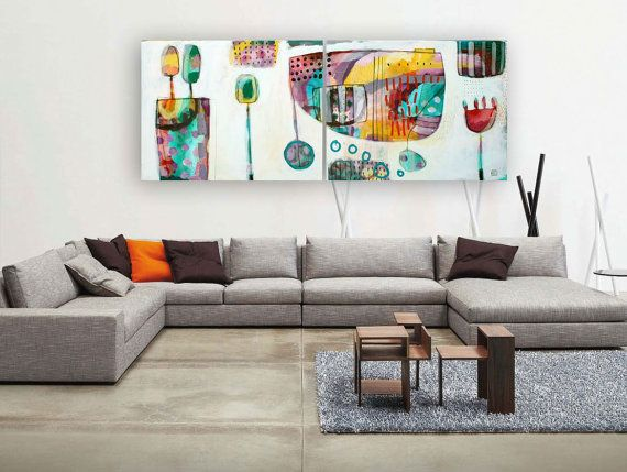 Large original 2 panel painting  Abstract set of 2 by MirnaSisul, $1170.00
