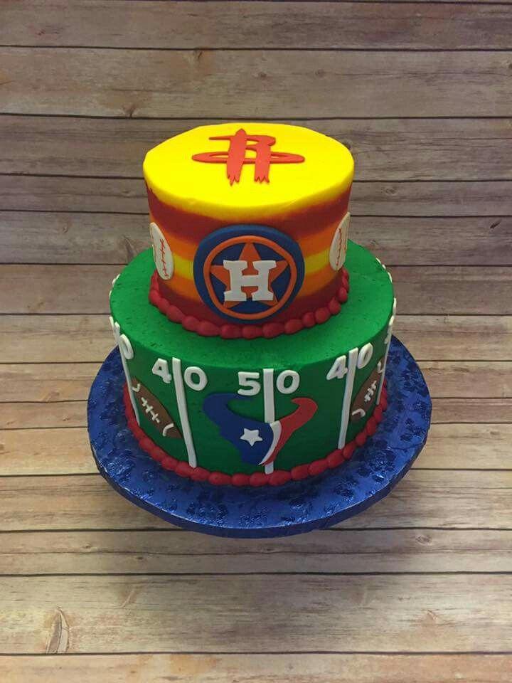 Rockets Astros Texans cake
