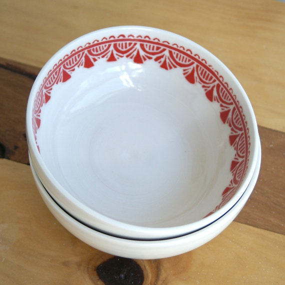Red florence edged breakfast bowl by Belinism on Etsy, $45.00