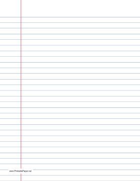 This letter-sized lined paper is wide ruled with blue lines in portrait (vertical) orientation. We have the same paper with black lines, too. Free to download and print