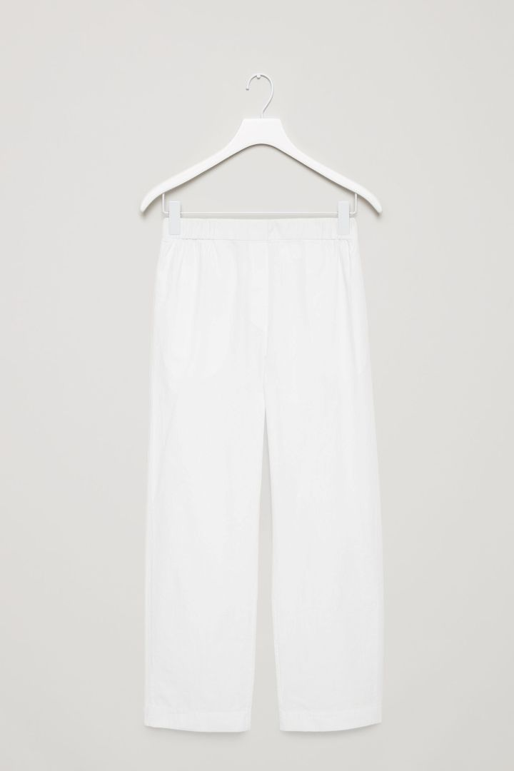 COS image 4 of Puckered pyjama trousers in White