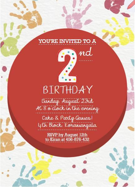 Kids Birthday Party Invitation For 2 Year Old Grouptable