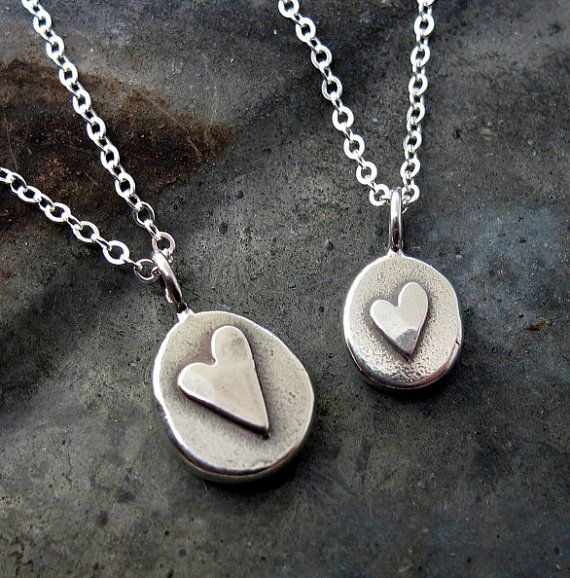 Silver Heart Necklace, small heart charm necklace, love jewelry in sterling silver by Kathryn Riechert