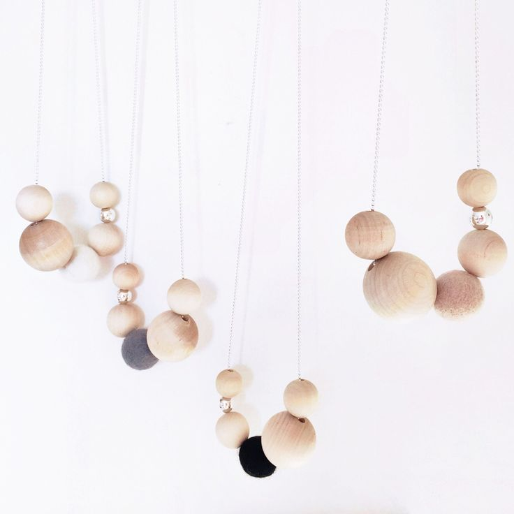 Image of Natural Wood and Felt Necklaces