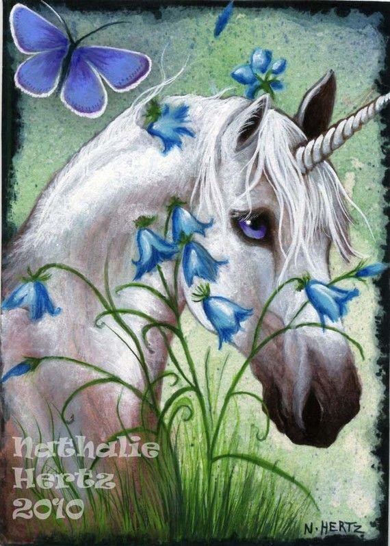Hand Embellished Horse Unicorn Flower Butterfly Fantasy ART