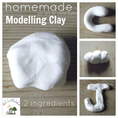 Homemade Modelling Clay  1/2 c glue and 1 c cornstarch no cooking required. Will harden in air or oven, takes crayon marker paint, etc.