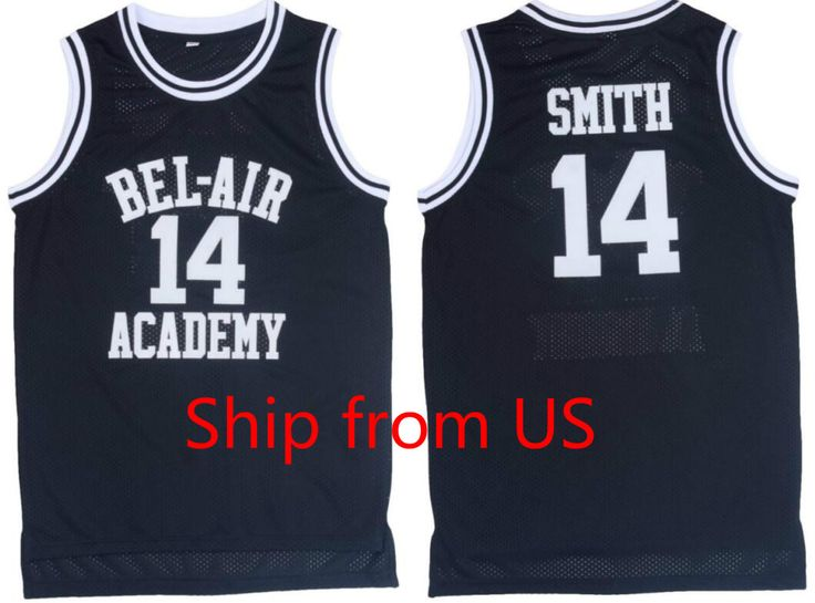 Black Basketball Jersey Will Smith the Fresh Prince Jersey Shirts Black 14# Hip Hop Basketball Jersey Sport T-shirts Breathable