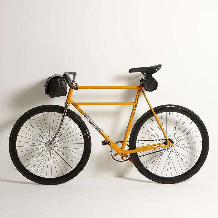 """500 L ECO"" new bike by Melo! on sale www.fumogallery.com #bike #bicycle #custom #customized #fiat500 #fiat #faustocoppi #shimano #columbus #yellow #positano #urban #city #street #photo #photography #innertube #bags #madeinitaly #italy #buyart #buyartonline #emergingartist #artwork #handmade #custombycicle"