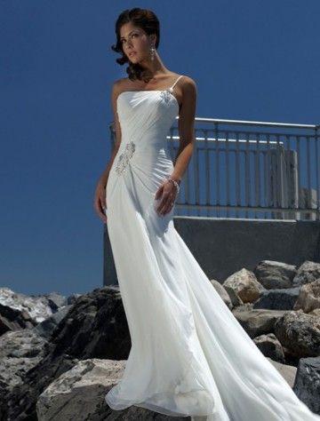 Empire One Shoulder Chapel Train Sleeveless Chiffon Beach Wedding Dress For Brides
