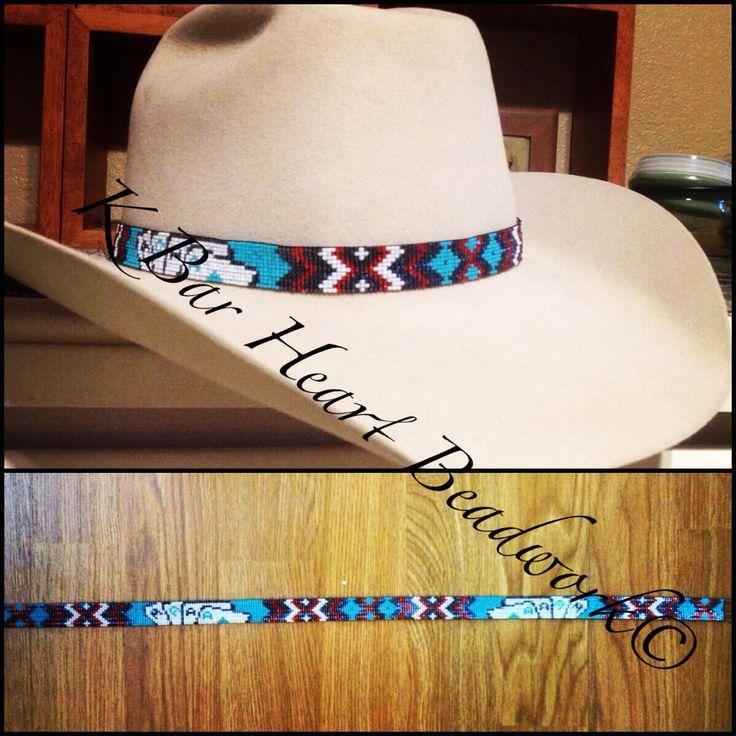 Aces high beaded hat band. K bar heart beadwork.  Www.facebook.com/kbarheartbeads