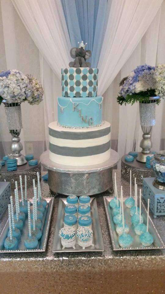 Blue and gray elephant baby shower party! See more party ideas at http://CatchMyParty.com!