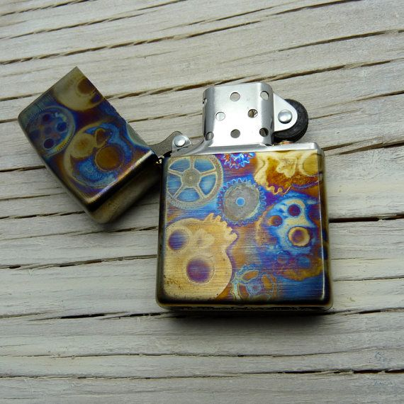 SKULLS and GEARS Cool Zippo Lighter. Gifts for Men by theraveniron, $60.00