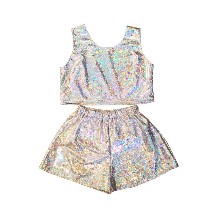 Holographic Top and Shorts Two Piece Co-Ord Summer Festival Beach Party Irridescent Sparkle Twin Set by KARIZMAlondon on Etsy https://www.etsy.com/listing/203835262/holographic-top-and-shorts-two-piece-co