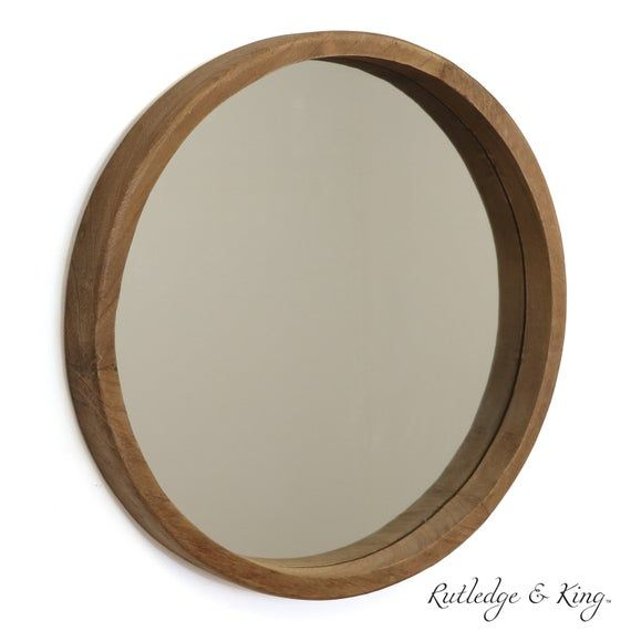 Wooden Mirror Wood Wall Mirror Rustic Round Mirror Medium