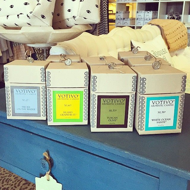Four new #Votivo scents AND we've restocked our Auto Clips! I'll be buying one of everything please. #islandgrapefruit #whiteoceansands #tuscanolive #smokeonthewater #candles #shoplocal #houseofstella