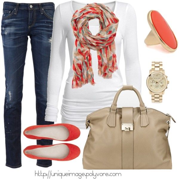 coral casual: Shoes, Weekend Outfit, Casual Outfit, Color, Fall Looks, Coral Casual, Scarves, Fall Outfit, Scarfs
