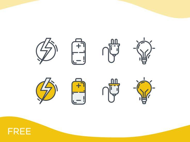 Electricity Icon Set - Freebie by Ümit Can Evleksiz
