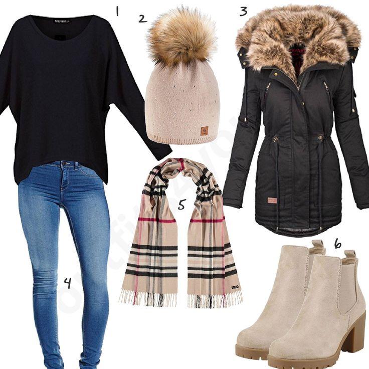 Schwarz-Beiges Damenoutfit mit Navahoo Mantel (w0757) #schal #jeans #pullover #mantel #mütze #outfit #style #fashion #womensfashion #womensstyle #womenswear #clothing #frauenmode #damenmode #handtasche #inspiration #frauenoutfit #damenoutfit