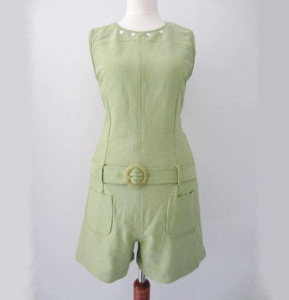 Vintage Green Mod Romper w/ Belt, S-M // 60s Style Green Floral Summer Playsuit