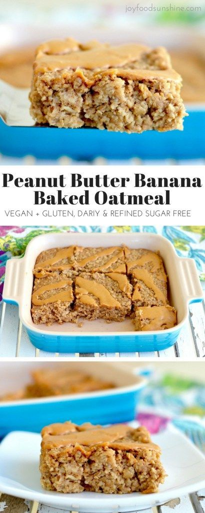 Healthy Peanut Butter Banana Baked Oatmeal Recipe! The perfect make-ahead breakfast! Gluten-free, dairy-free, & vegan-friendly with zero refined sugar! #cake #desserts