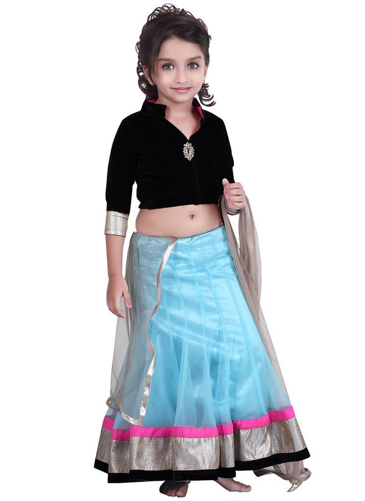 Kids Blue #Net #Lehenga #Choli