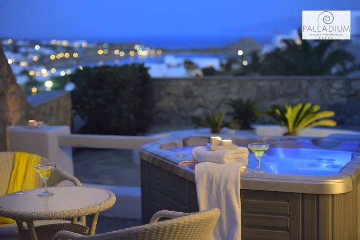 Relax at the Jacuzzi, sipping your favorite cocktail…Precious moments in Mykonos, with the care and attentiveness of Palladium Boutique Hotel! More at hotelpalladium.gr