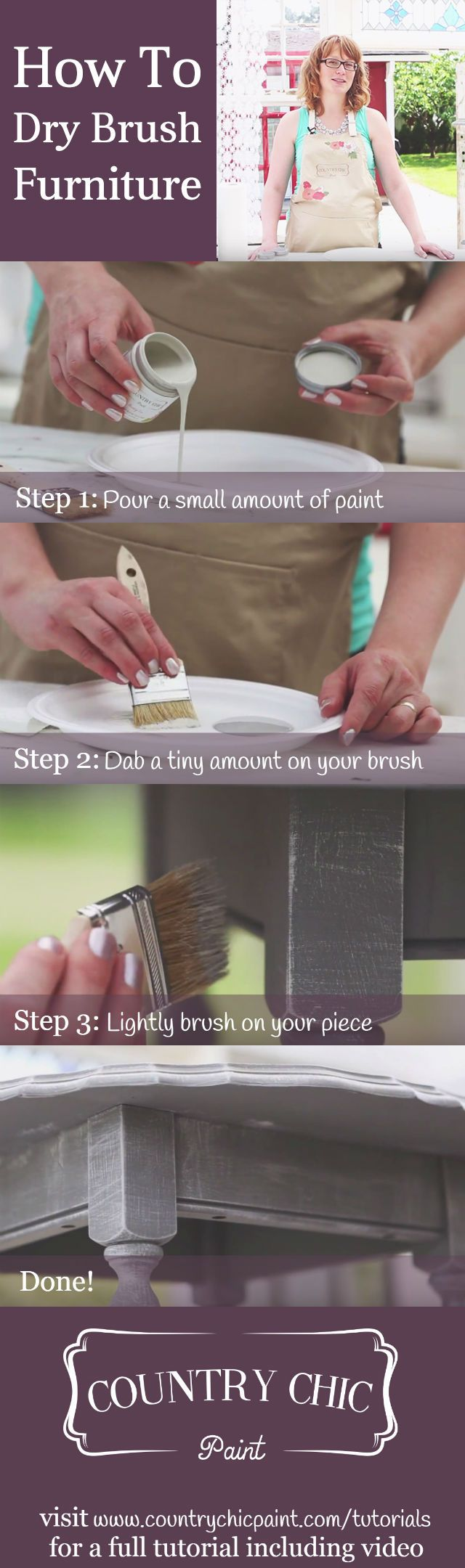 How to dry brush furniture | dry brushing tutorial {Country Chic Paint} #countrychicpaint - countrychicpaint.com/tutorials