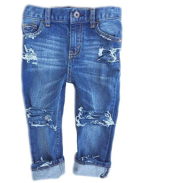 """The """"Farm Fresh Original Medium Wash Distressed Jeans- Distressed... ($25) ❤ liked on Polyvore featuring jeans"""