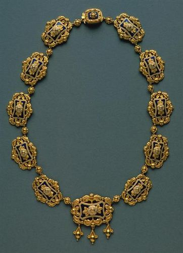 Portuguese Necklace - gold and esmale. Nineteenth century.