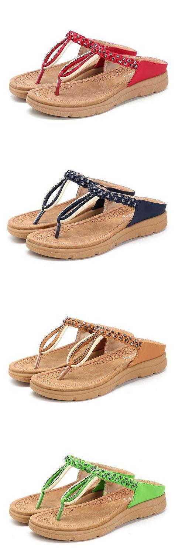 US$21.36 SOCOFY Rhinestone Flip Flops Soft Flat Clip Toe Beach Slippers