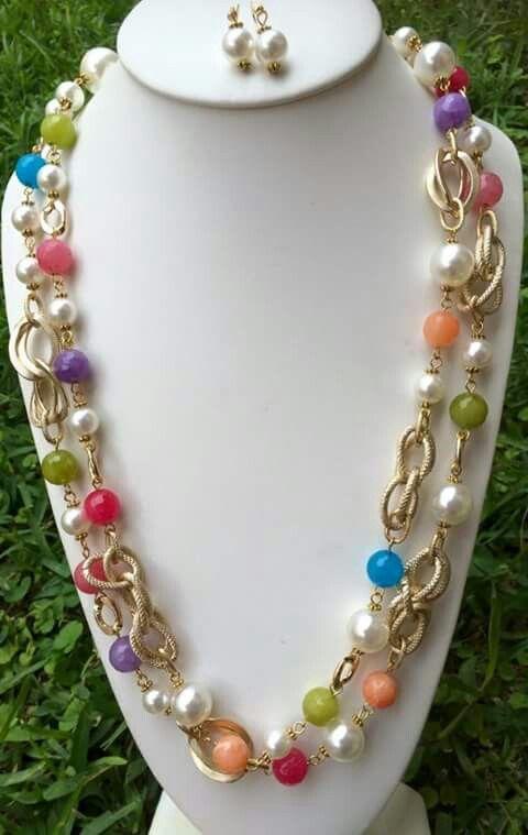 Collar cadena chapa con perlas y agatas