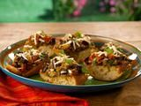 Grilled Eggplant Caponata Bruschetta with Ricotta Salata Recipe from Bobby Flay's Barbecue Addiction